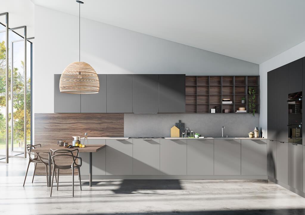 Cocina con estantes Tmatt - Vison y Antracite