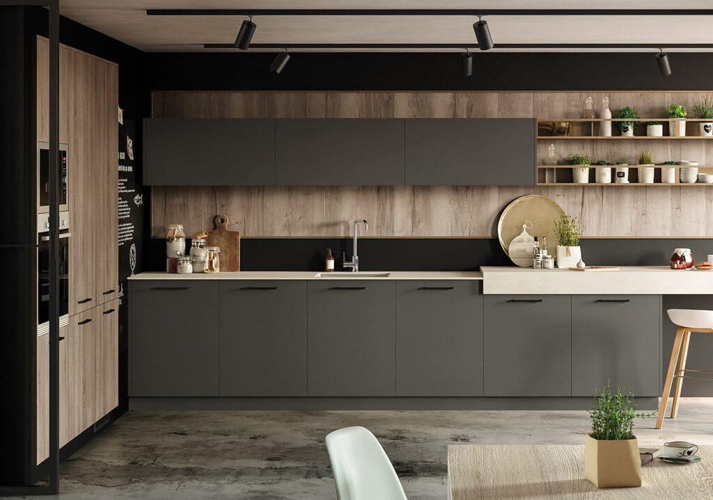 Cocina con estantes, Antracite - Tmatt